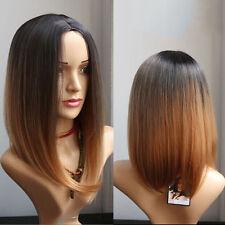 Womens Full Wigs Short Straight Lolita BOB Ombre Black Brown Heat Resistant Wig