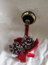 Vintage Over the Door Christmas Bell Ringer Pine Cones & Bow Red Painted Metal