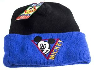Micky Mouse Aqvila Black and Blue Acrylic Beanie Hat