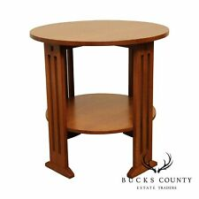 New listing Stickley Mission Collection 29 inch Round Oak Side Table