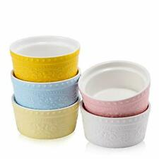 Durable Porcelain Embossed Ramekin Baking Souffle Dish (5 Pcs of 6oz)