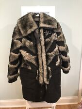 COACH Black & White Leather + Lamb Shearling Winter Coat, Made in Italy (Small)