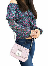 Michael Kors Tina Stud Small Clutch Bag Crossody Blossom Pink Floral Perforated
