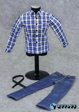 "1/6 ZY TOYS Youth Blue White Checker Box Shirt&Jeans Set For 12"" Action Figure"