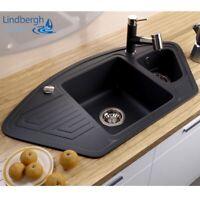 """LINDBERGH® Granit Spüle Schwarz """"ANG"""" Siphon Einbauspüle Küchenspüle Eckspüle"""