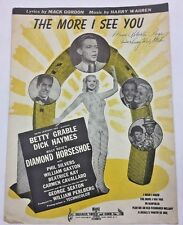 Vintage Sheet Music from Diamond Horse Shoe The More I See You Betty Garble