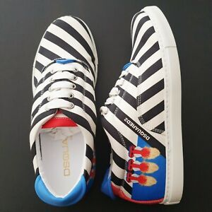 DSQUARED Mens Tessuto Stripe Sneakers Trainers Shoes Size 39 UK 6