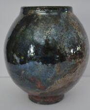 "Gene Carr Black Raku Fired 8"" Studio Art Pottery Vase Elmira, NY Signed"