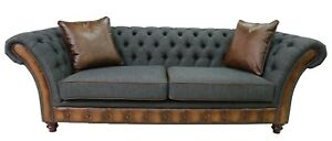 Chesterfield Jepson 3 Seater Sofa Antique Tan Leather Charcoal Grey Fabric
