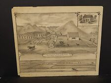 Ilinois Cass County Map Farm of Richard M. Johnson 1874 !J14#94