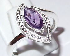 Amethyst marquis with White Topaz accents, 1.0ct, in Sterling Silver, Size Q.