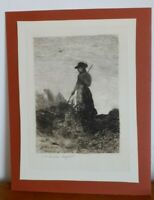"JOHN WILLIAM BUXTON - KNIGHT ORIGINAL ETCHING ""THE HAY MAKER"""