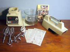 Oster Kitchen Center 10 Speed Base Arm sm Bowl Hooks Beaters Gold Tested Book