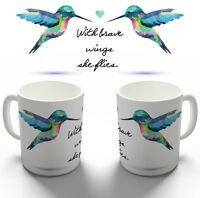 BRAVE WINGS BIRD FLIES COFFEE MUG TEA CUP PERSONALISED BIRTHDAY CHRISTMAS GIFT