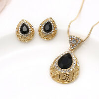 Turkish Necklace Earrings Black Gemstone Jewelry Set Gold Plated Waterdrop Boho