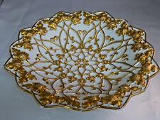 Meissen Antique Rococo Grapes Heavy Gold Gilt Porcelain Centerpiece Bowl