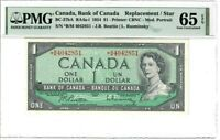 Canada $1 Dollar Banknote 1954 BC-37bA PMG GEM UNC 65 EPQ Replacement / Star