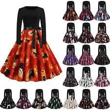 Damen Partykleid Schädel Kürbis Rockabilly Swing Skaterkleid Halloween Kostüm