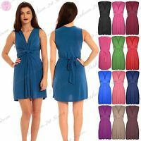 Womens Ladies Twist Knot Tie Belted Casual Party Summer Beach Mini Dress