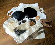 Antique Clothing & Accessories Lot Bonnet Hat Lace Petticoat Purse Boots Hosiery