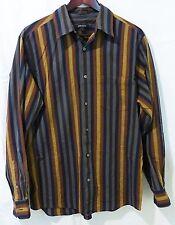 DKNY men L long sleeve shirt striped button down brown blue