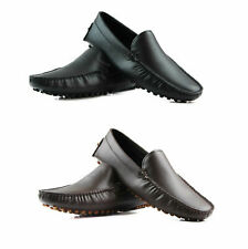 MENS ZASEL SUMMER LEATHER SHOES Black Brown Casual Slip on Boat Deck Loafers