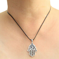 Hamsa Ohm Charm Pendant Necklace with Black Cord