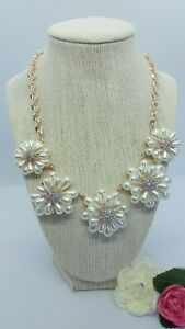CHARTER CLUB rose-gold crystal & imitation pearl flower statement necklace