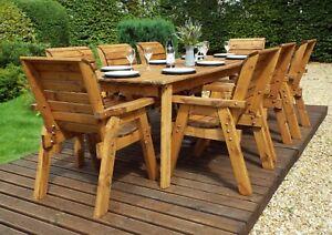 Home Gift Garden 8 Seat Wood Outdoor Rectangular Dining Set, Parasol & Cushions