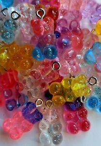 Pack of 10 Transparent Resin Teddy Gummy Bear Charm Glitter 21mm Sweet