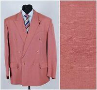 Mens BAUMLER UK 44R Pink Linen Double Breasted Summer Sport Coat Blazer Jacket