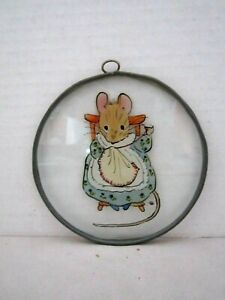 "Beatrix Potter Hunca Munca Mouse Glass Suncatcher Window hanger Sewing. 4"""