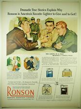 Vintage 1952 RONSON LIGHTER Full Page Large Magazine Print Ad - Armed Services