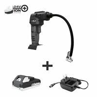 Sub Joe 24 Volt Cordless Air Compressor & Nozzle Adapters | W/ 1.3-Amp Battery