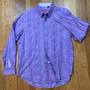 Robert Graham Button Up Shirt Long Sleeve L Large Striped Purple Flip Cuff EUC