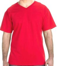 Alfani  Cotton Red Short Sleeve V-Neck T-Shirt 3XLT Big & Tall