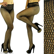 Black - Silver GLITTER FISHNET Seemless PANTYHOSE/TIGHTS/CROSSDRESSER/DRAG QUEEN
