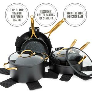 12 Piece Kitchen Cookware Set Stainless Steel Pots & Pans Nonstick Home Cooking