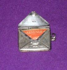 ANTIQUE 1913 CHESTER STERLING SILVER ENVELOPE STAMP HOLDER ALBERT CHAIN FOB