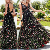 Women's Embroidered Floral Sheer Mesh Long Cocktail Evening Party Maxi Dress