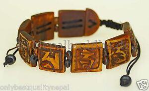 Bracelet Braun Men's Jewelry Class Buddha Mantra Compassion s42