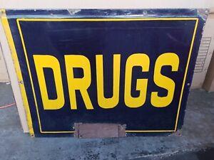 (VTG) 1930s 40s drugs blue & yellow Store Porcelain pharmacy Sign Gas Oil