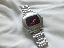 Working Vintage Men's Neiman Marcus Pulsar P2 LED Digital Watch Stainless Steel
