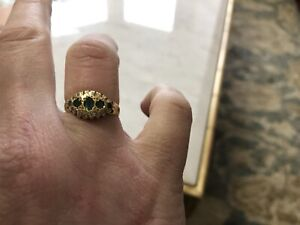 18ct Gold Emerald And Diamond Gypsy Ring Size O 1/2