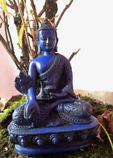 Tibetan Medicine Buddha Lapis Blue Color Dragon Carving Healing Resin Statue