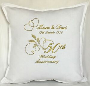 Personalised Gold Embroidered 50th Wedding anniversary gift cushion