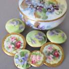 "Antique LIMOGES HP Porcelain 3"" Box VIOLETS + 7 BUTTONS Violets ROSES GILT Paste"