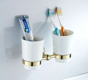 Golden Color Brass Wall Mounted Toothbrush Holder with two Ceramics Cups 2ba880