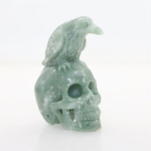 """Height 2.9"""" 153g GREEN STONE Carved Raven Crow Crystal Skull Healing Reality"""