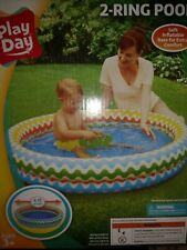 Play Day 2-Ring Pool Ages 3+ Inflatable Blow Up 48�W X 10�H Unopened Arm Bands